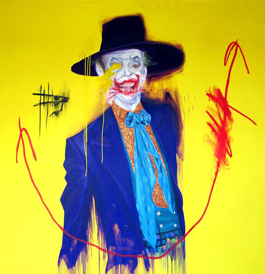 "George Morton-Clark - ""Bad Joke"" Oil, glitter and acrylic on canvas 170 x 180 cm 2013"