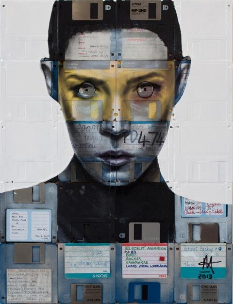 """Nick Gentry - """"Invader"""" - 47 x 36, Oil paint and used computer disks on wood, 2013"""