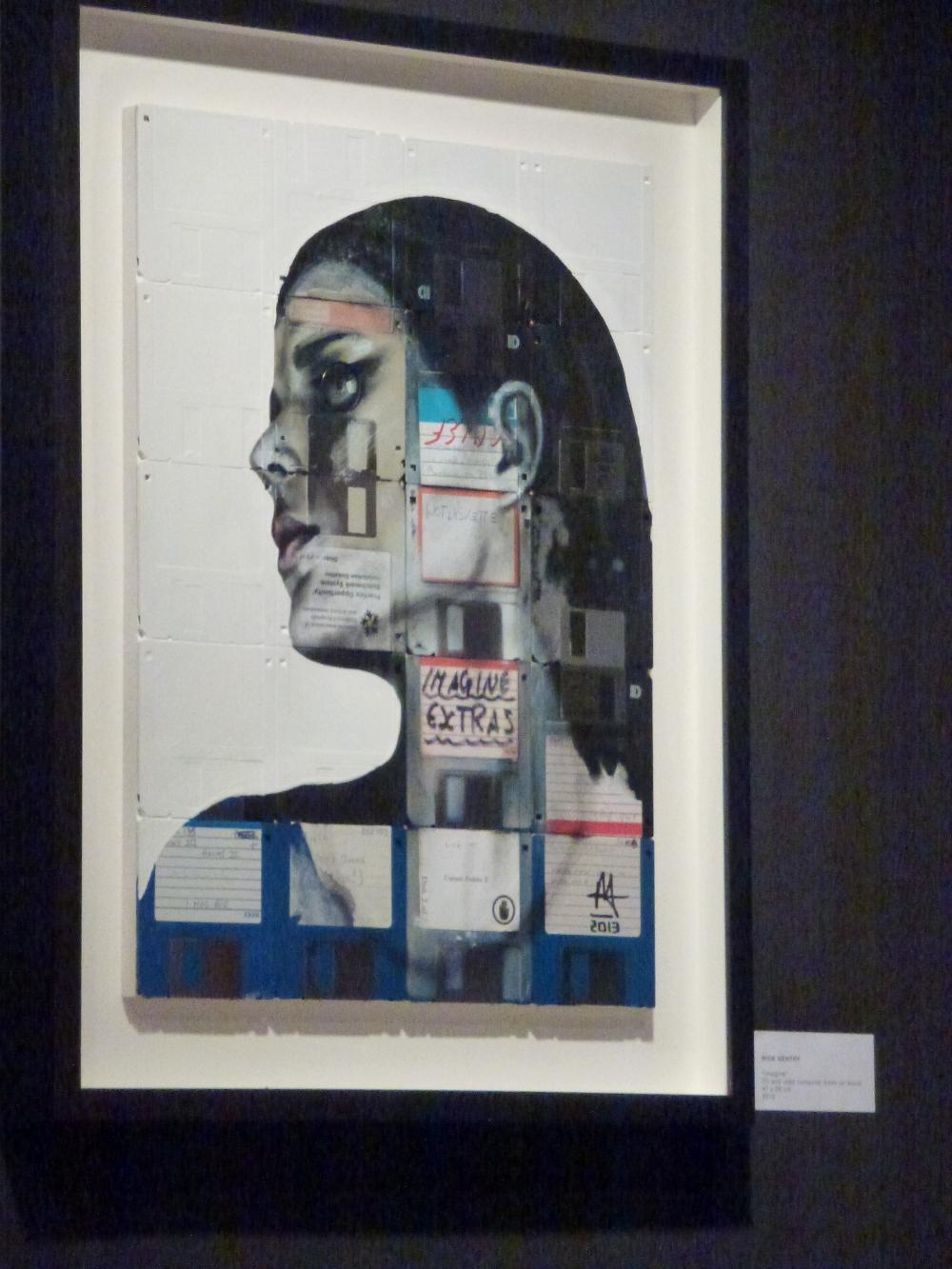 Nick Gentry - Imagine, Öl und gebrauchte Disketten auf Holz - 47 x 36 cm - 2013