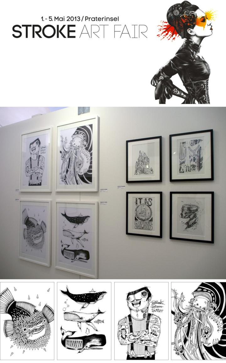 Ausstellung von Illustrationen auf der Stroke Art Fair 2013