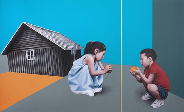 Ursache und Wirkung, 2013, Acryl auf Leinwand, 120 x 200 cm