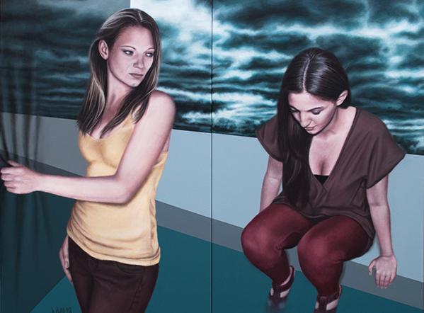 Was bleibt zurück?, 2012, Acryl auf Leinwand, 120 x 160 cm (zweiteilig)