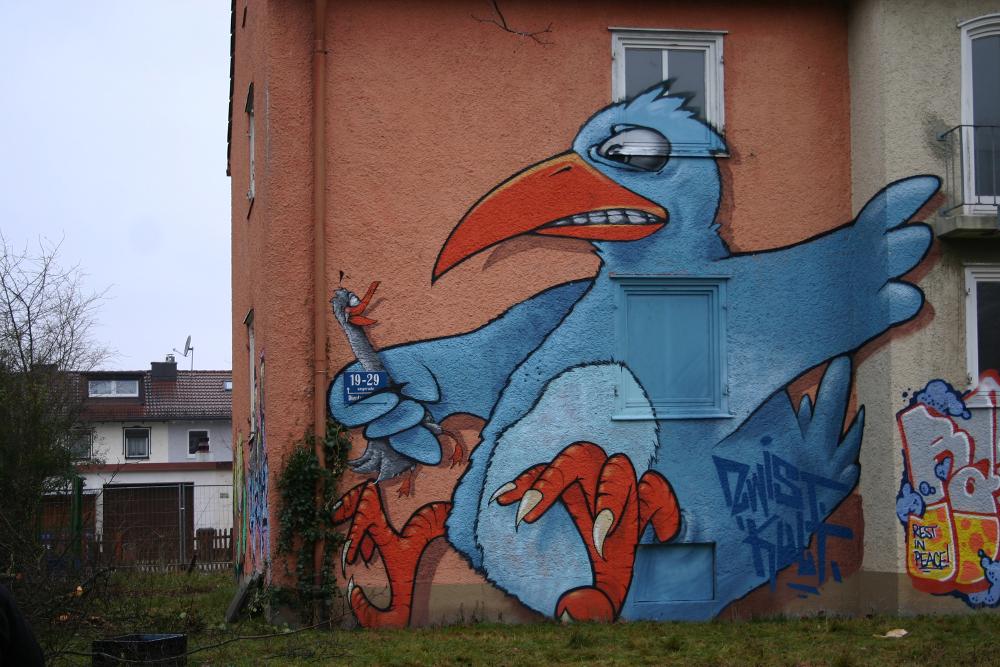 Projekt in Milbertshofen an einem alten Haus - mit dabei: Der Blaue Vogel