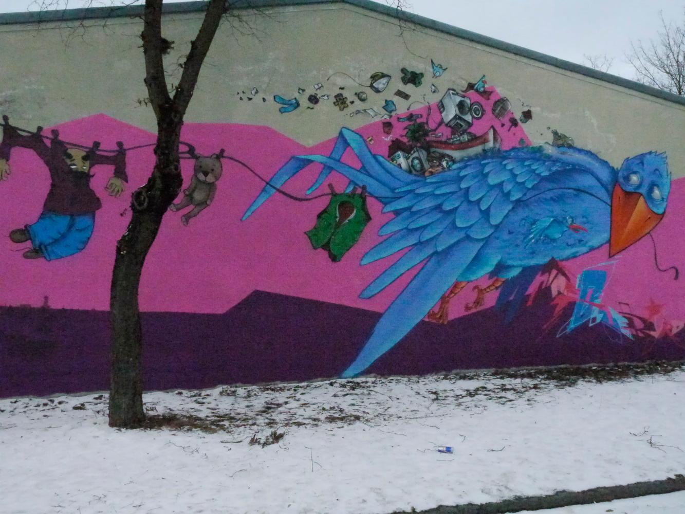Der blaue Vogel goes Camp; Aktion an der Kleiderkammer Halle 28