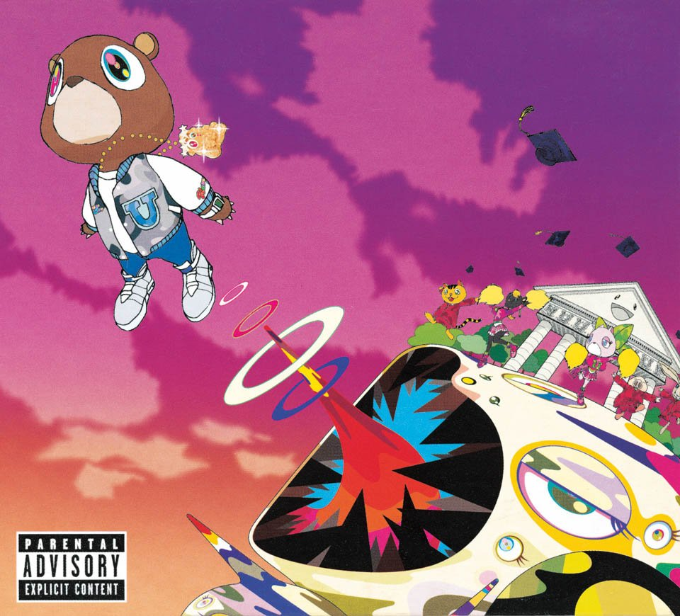 art: Takashi Murakami / music: Kanye West / record: Graduation / year: 2007 / label: Roc-A-Fella Records / format: Album 2×12˝, CD / artwork: Digital compositing
