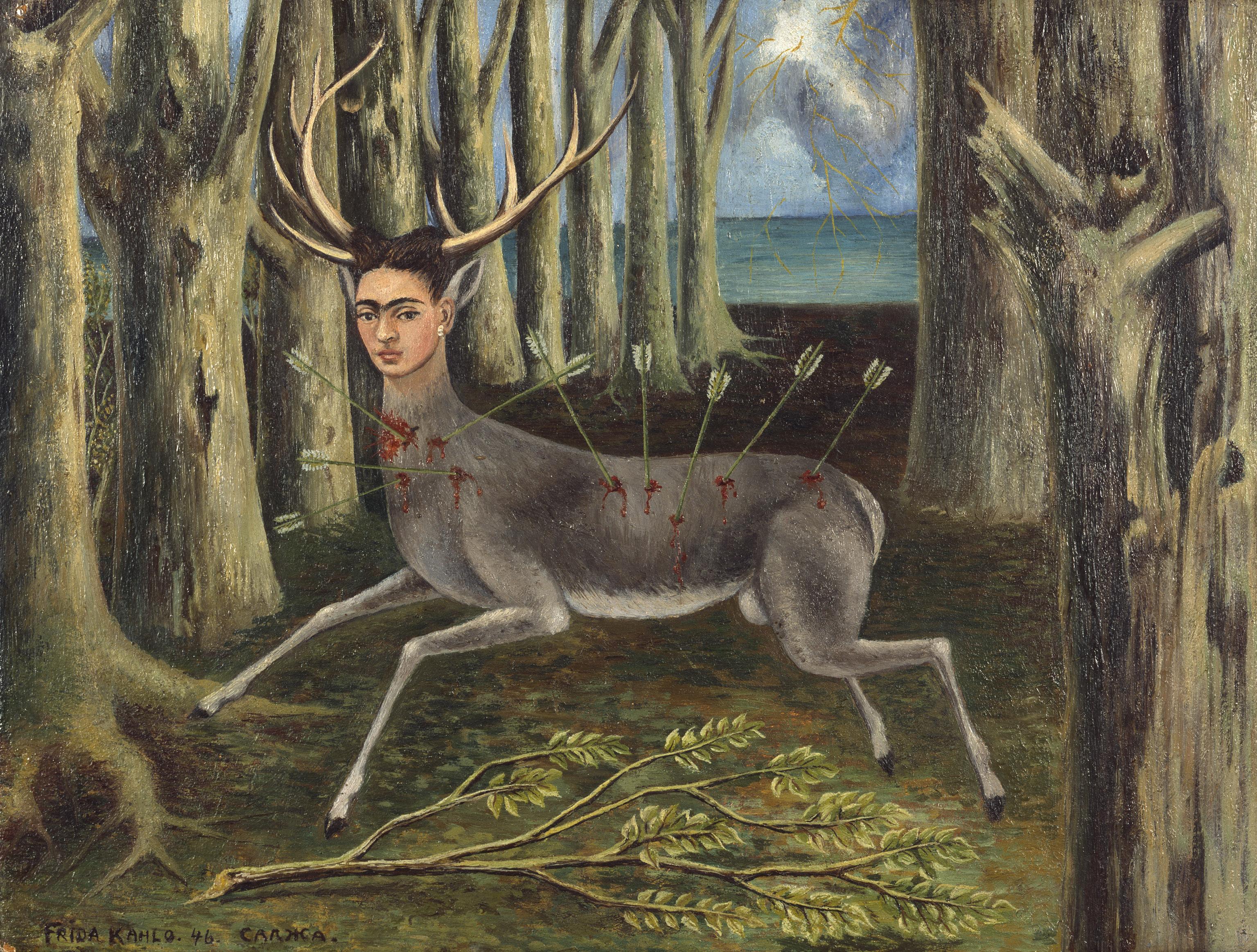 Frida Kahlo (1907–1954) Der kleine Hirsch, 1946 Öl auf Hartfaser , 22,5 x 30,2 cm Privatbesitz © Banco de Mexicó, Diego Rivera Frida Kahlo Museums Trust / VG Bild-Kunst, Bonn 2016