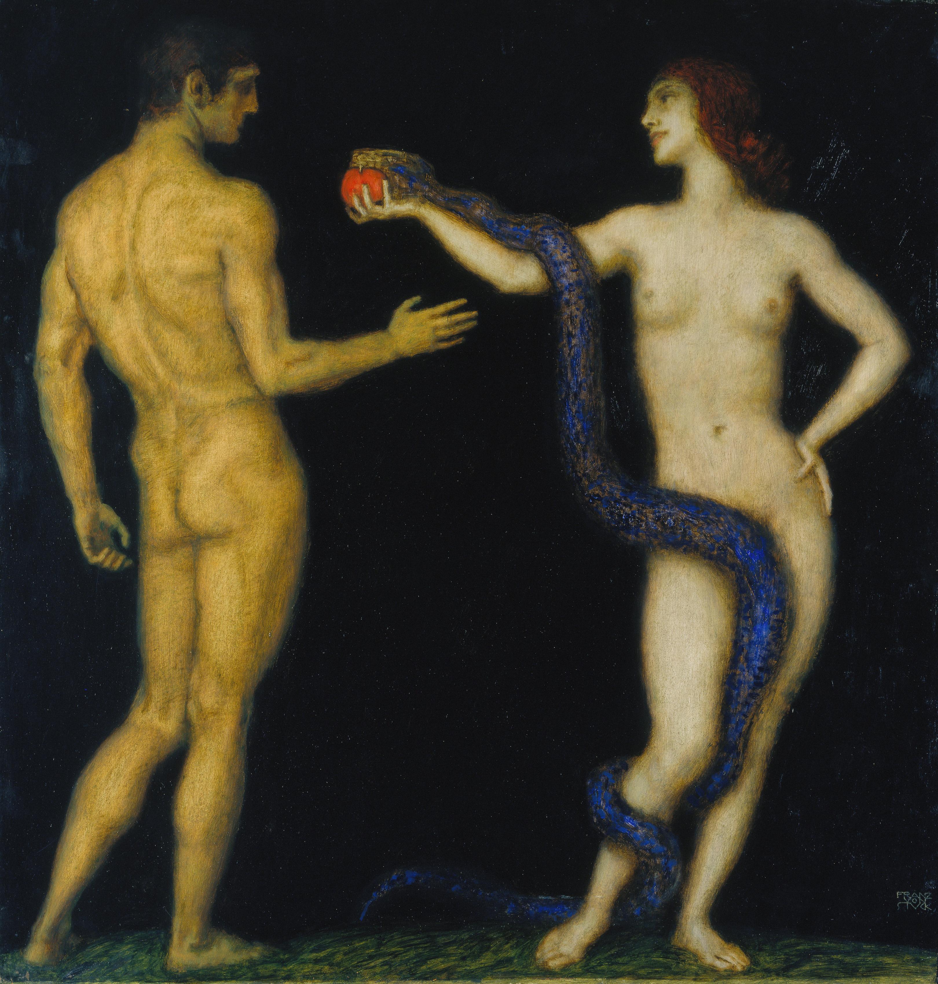 Franz von Stuck (1863–1928) Adam und Eva, 1920–1926 Öl auf Holz, 98 x 93,5 cm Städel Museum, Frankfurt am Main Foto: Städel Museum – ARTOTHEK Städel