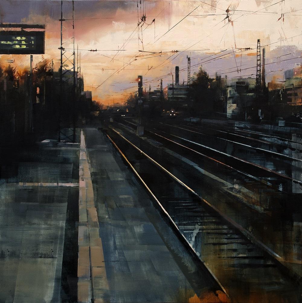 lukas frese |station at nightfall |Öl auf holz | 80 x 80 cm |2016