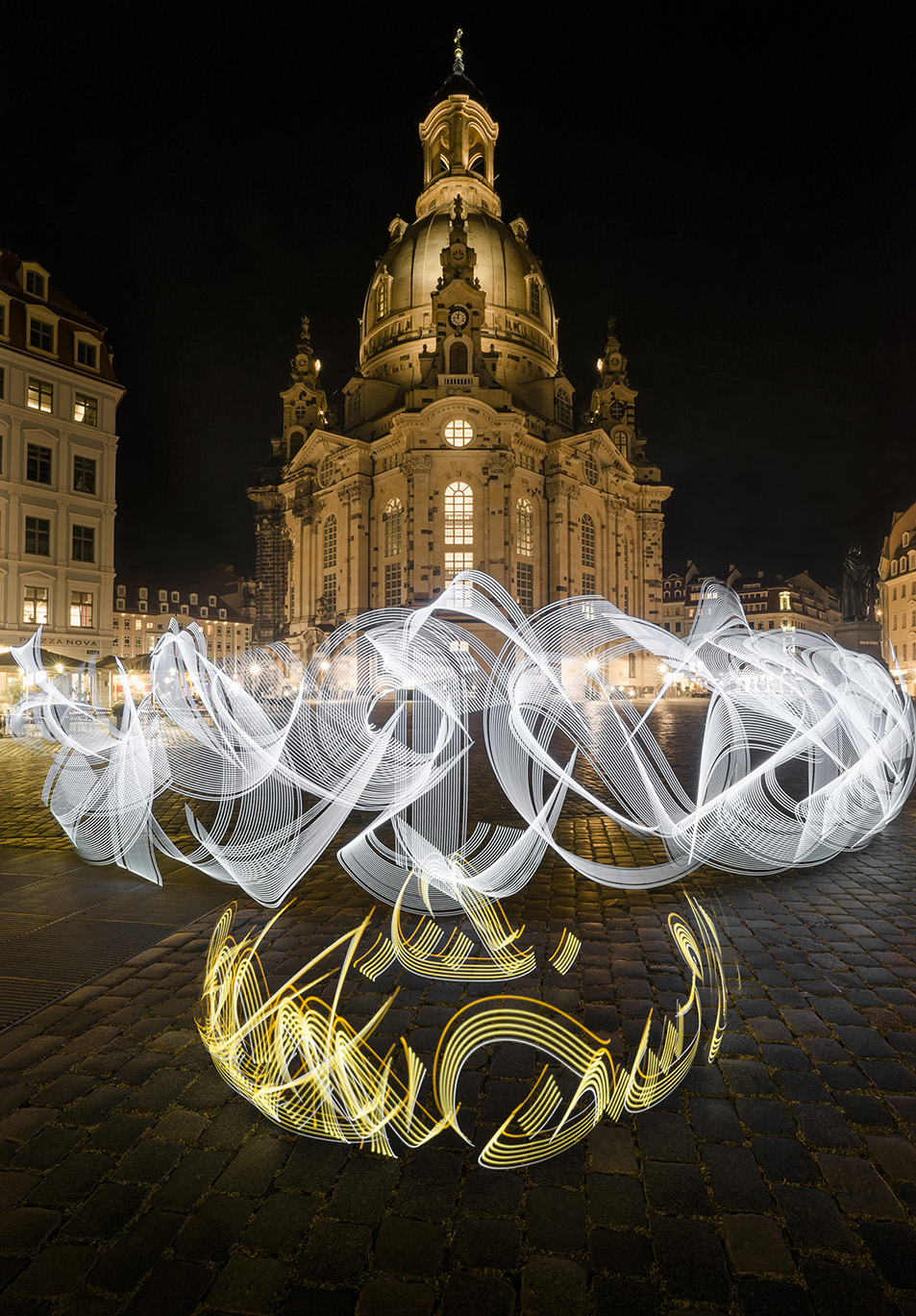 Said Dokins & Leonardo Luna, The Power of the people, 2016. Light Calligraphy. Dresden. Germany.