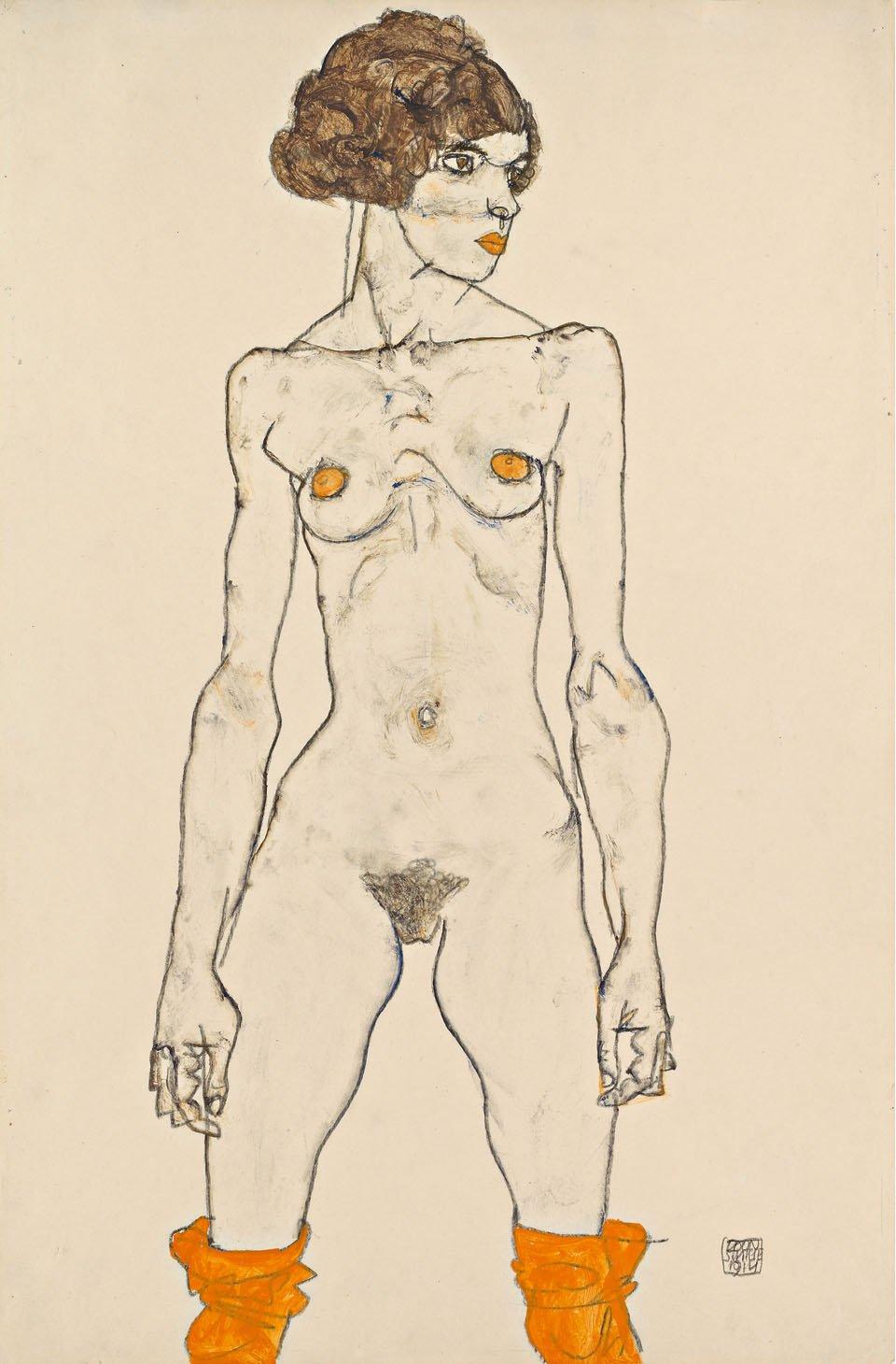 © Leopold Museum, Vienna | S. 318 | Titel: Stehendes nacktes Mädchen mit orangefarbenen Strümpfen, 1914 Wien, Leopold Museum