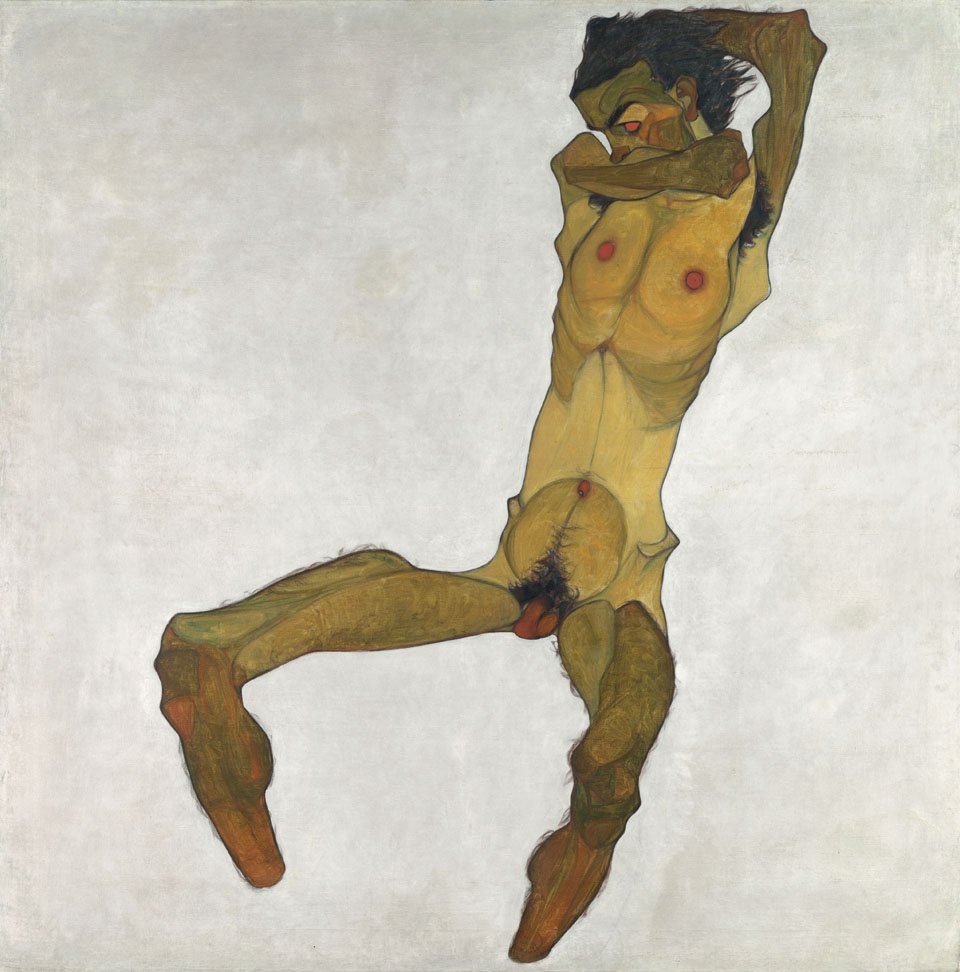 © Leopold Museum, Vienna | S. 413 | Titel: Sitzender Männerakt (Selbstbildnis, auch: Der Gelbe Akt), 1910 Wien, Leopold Museum