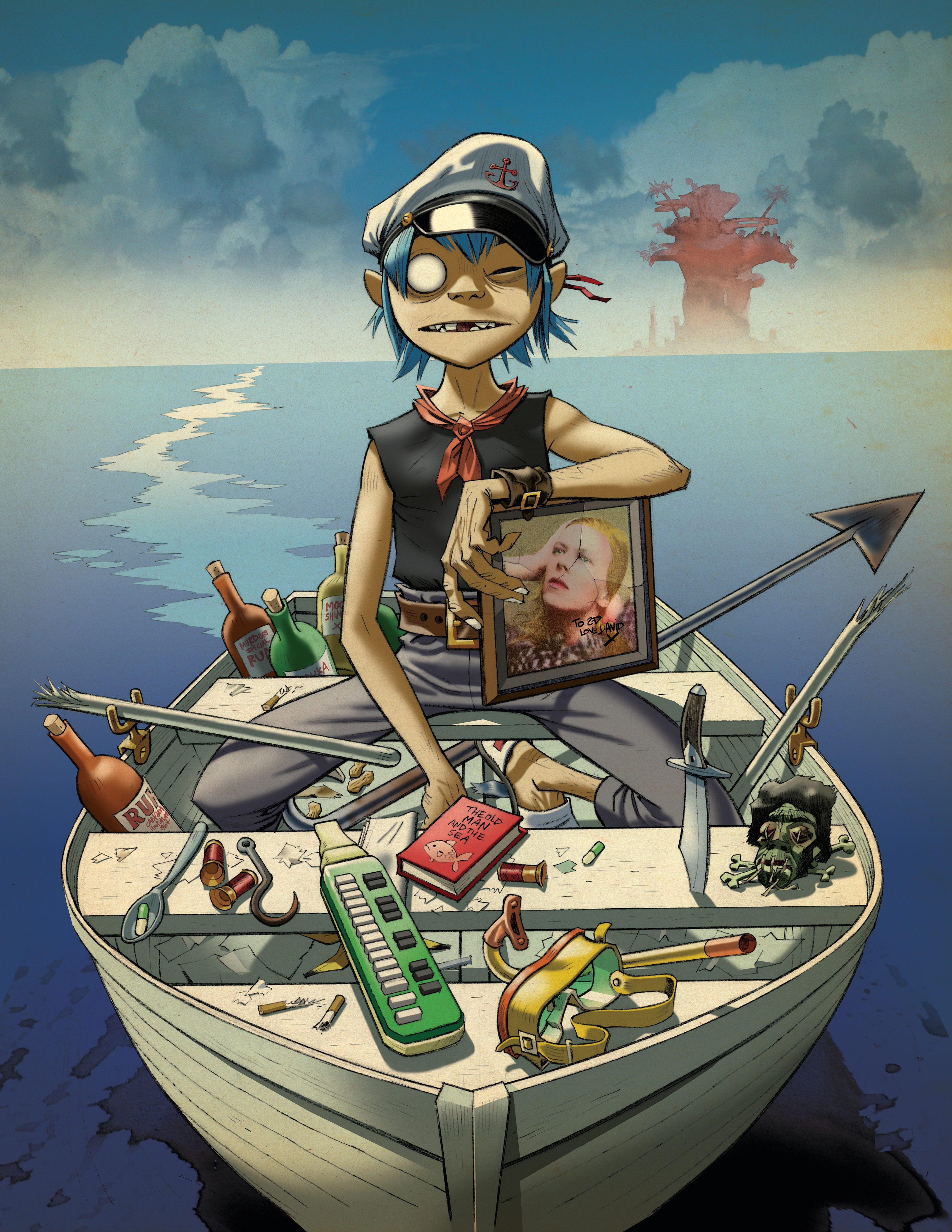 Copyright: © Jamie Hewlett | Caption: p. 169 |The Young Fool and the Sea, 2010 | Album artwork for Gorillaz' Plastic Beach.