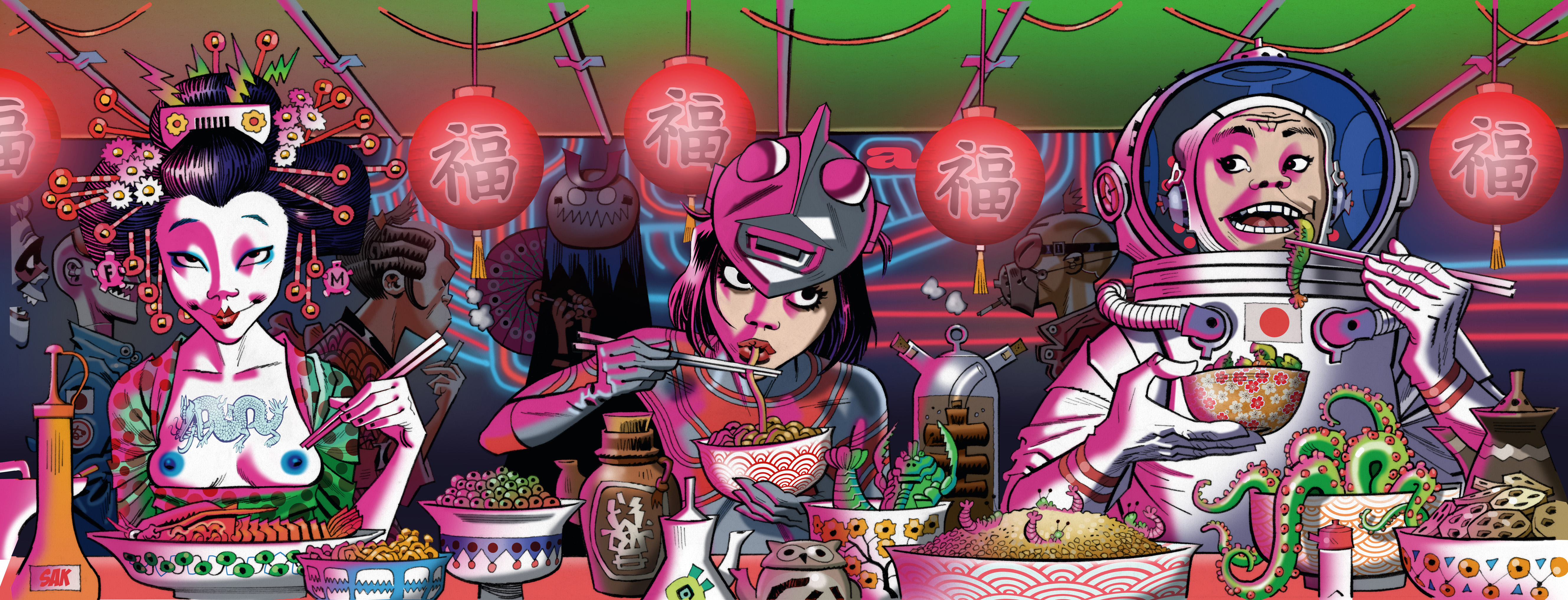 Copyright: © Jamie Hewlett Caption: p. 242 Blue Nips, Ultra Girl and Yuri Tempura, the Sushi Lovers | 2015 Comissioned work designed for the opening of Japanese restaurant Roka, Charlotte Street. The work is hanging in the downstairs bar of the restaurant.
