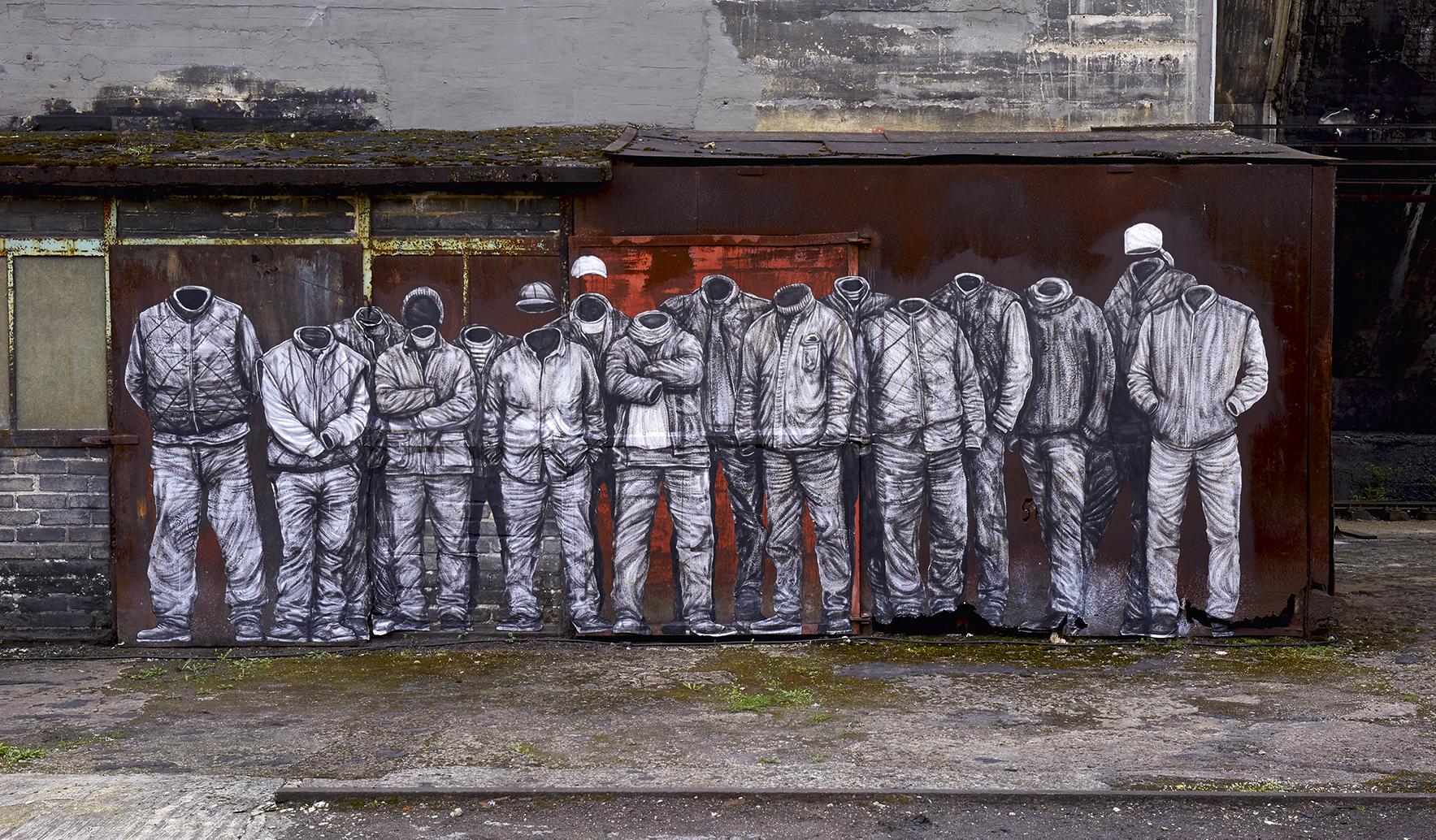 Levalet: Plan Social, 2017 | Tusche und Acryl auf Papier, 190 x 160 cm |Ort: Kohleturm Copyright: Weltkulturerbe Völklinger Hütte/Karl Heinrich Veith