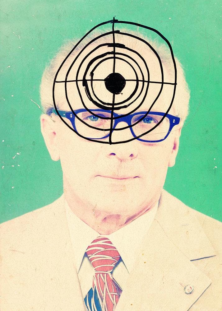 Plakat, Erich Honecker im Fadenkreuz, 1989 bearbeitet (Marker, Holz, Leinwand, 49 x 39 cm) Copyright: The Wende Museum/TASCHEN