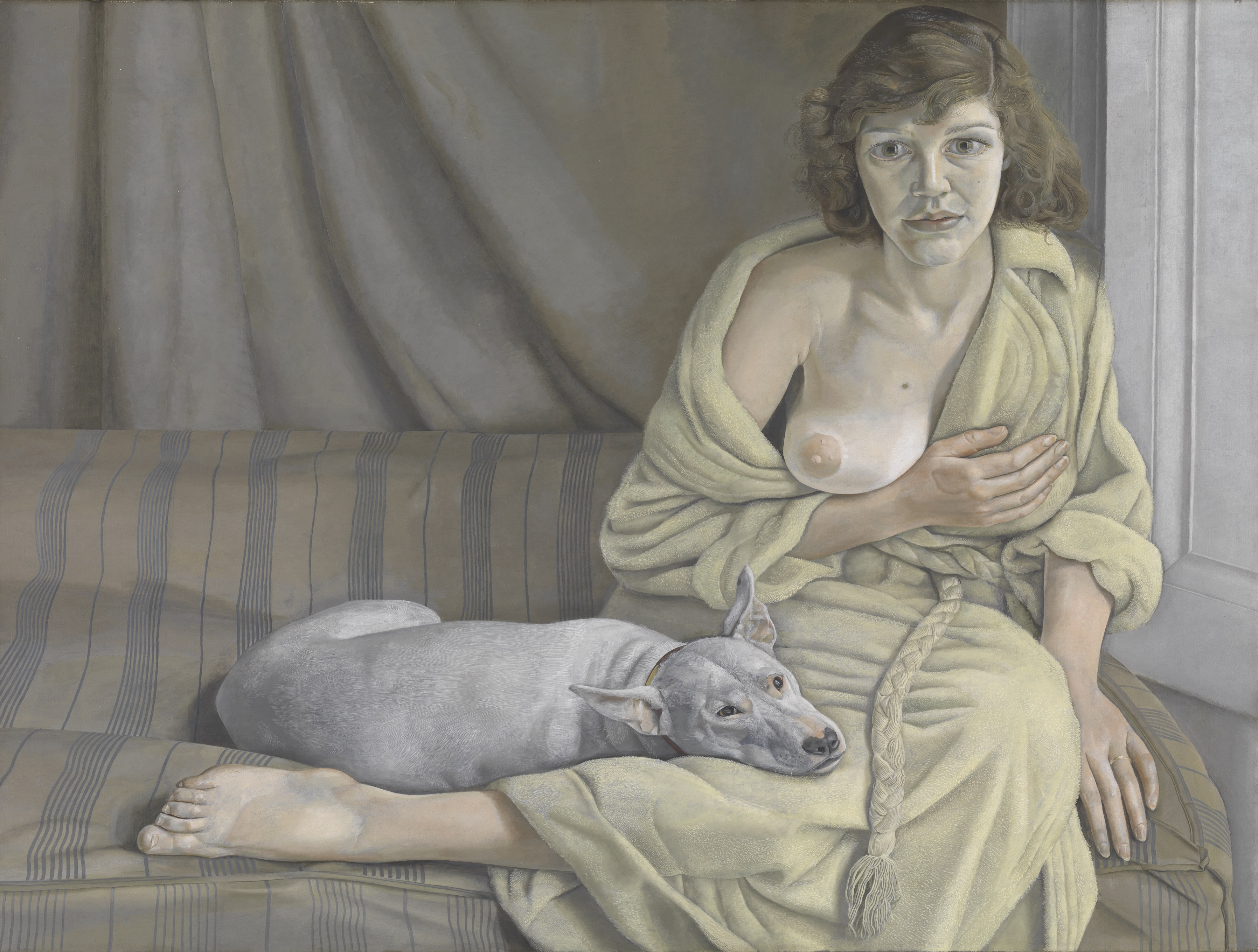Lucian Freud, 1922-2011 | Girl with a White Dog | 1950-1 | Oil paint on canvas 762 x 1016 mm | © Tate