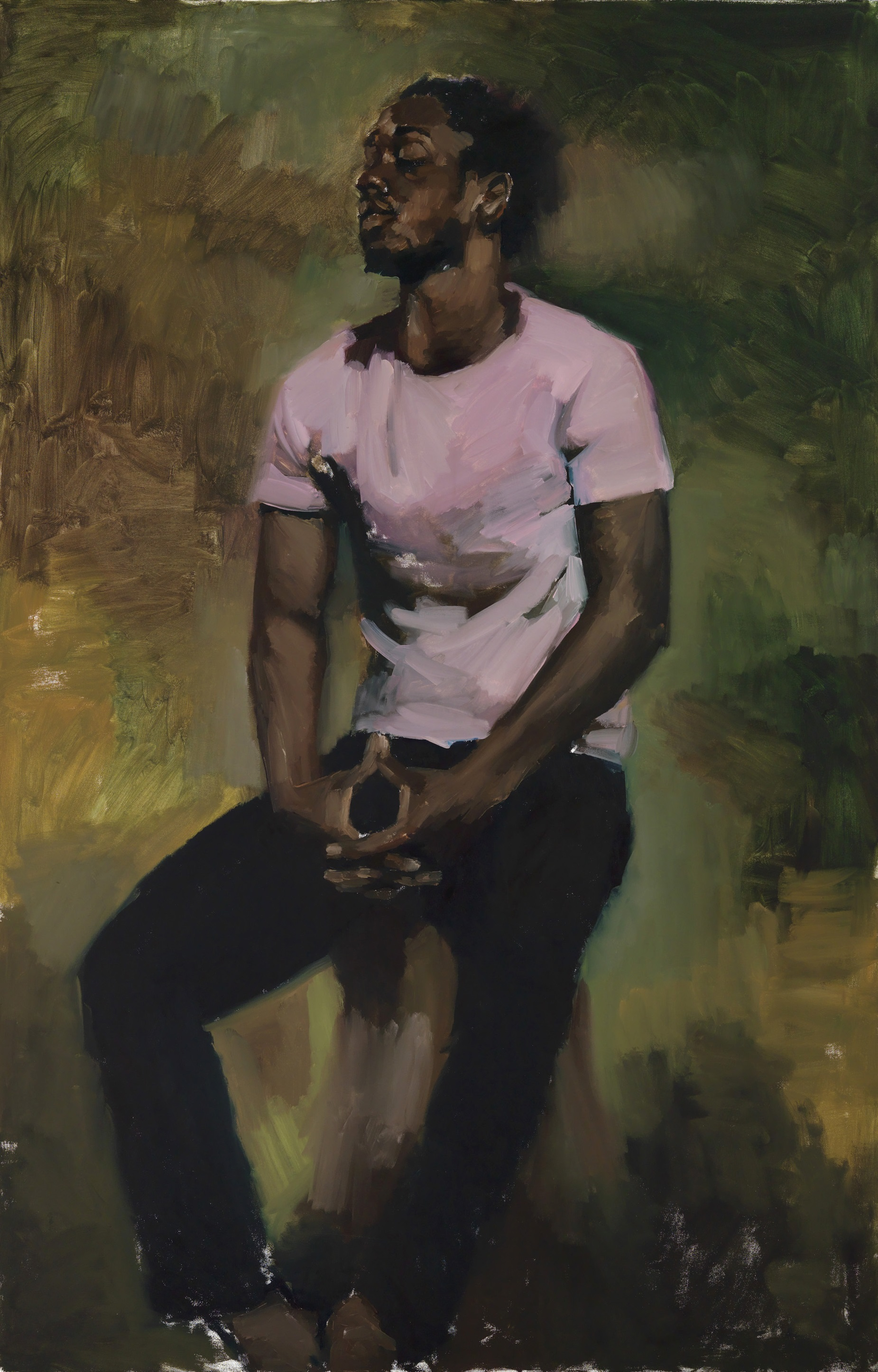 Lynette Yiadom-Boakye | Coterie Of Questions 2015 | Oil paint on canvas | 2000 x 1300 x 37 mm | Private collection. Courtesy Corvi-Mora, London and Jack Shainman Gallery, New York © Lynette Yiadom-Boakye