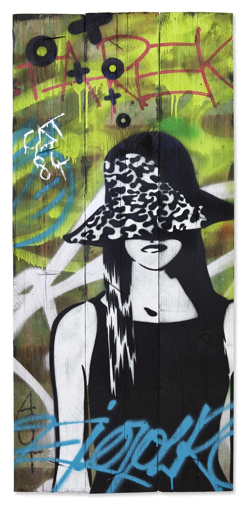 XOOOOX - Chloe (Cat84), 2017, 98 x 45 cm, Sprühfarbe auf Holz