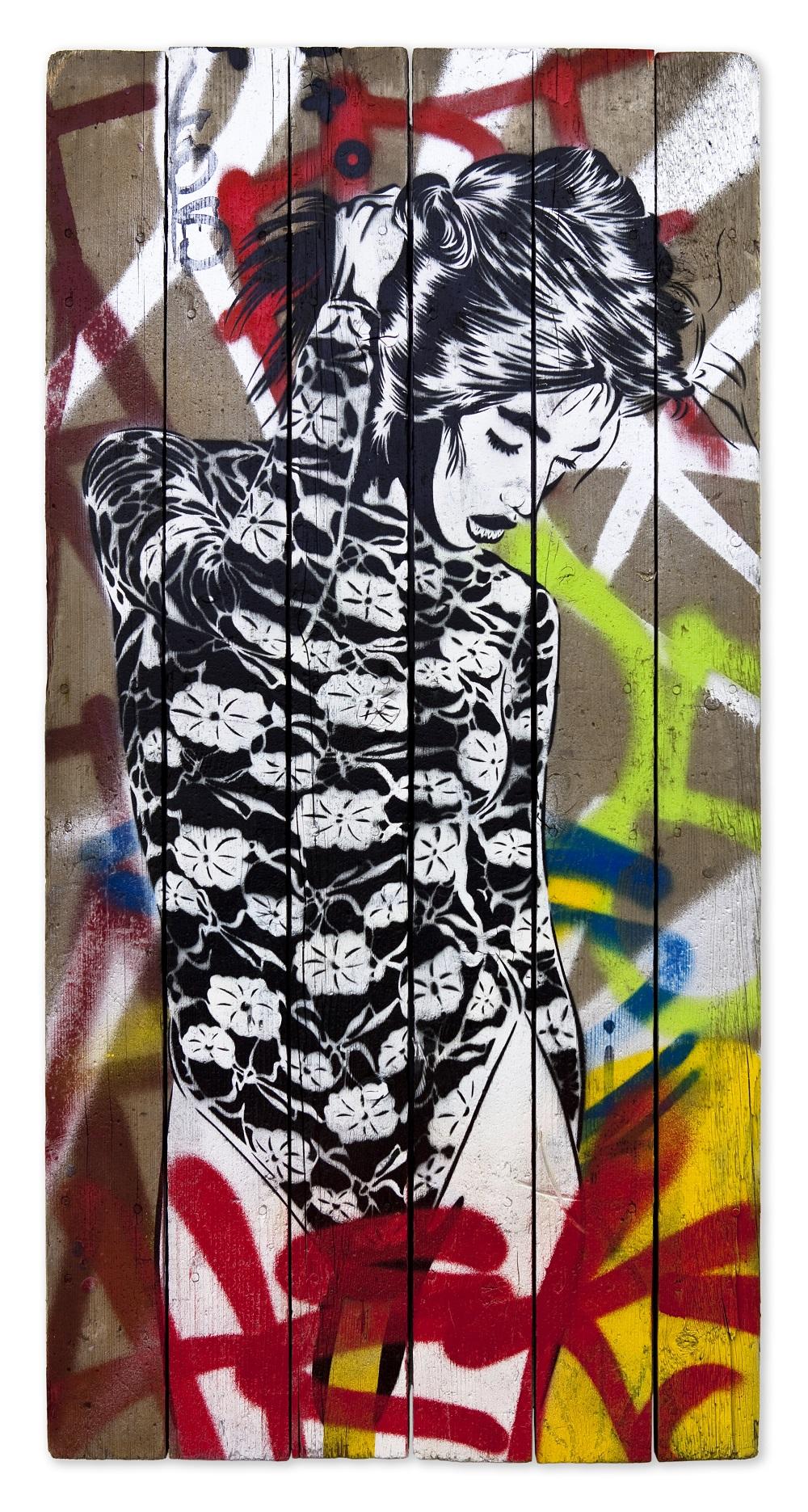 XOOOOX - Filo (Heks), 2017, 116 x 59 cm, Sprühfarbe auf Holz
