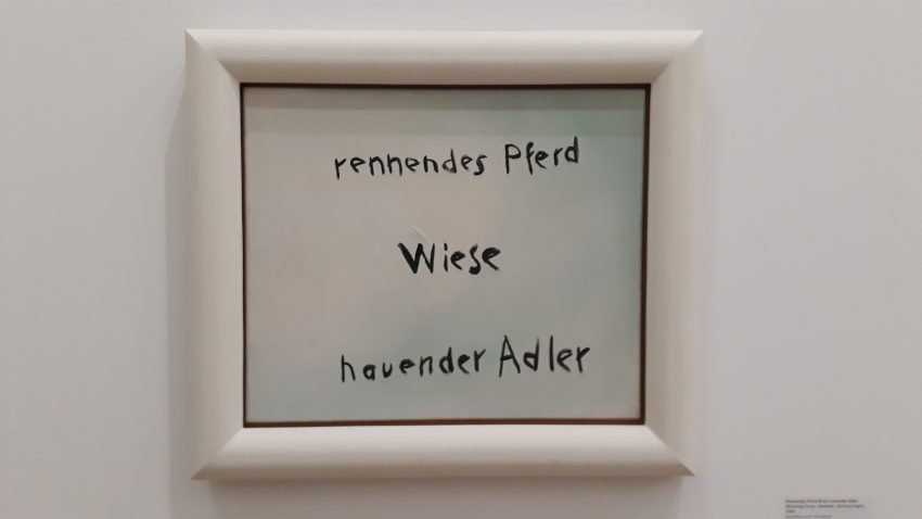 Jörg Immendorf | Rennendes Pferd Wiese hauender Adler | Kunstharz auf Leinwand | Photo: Sven Biller