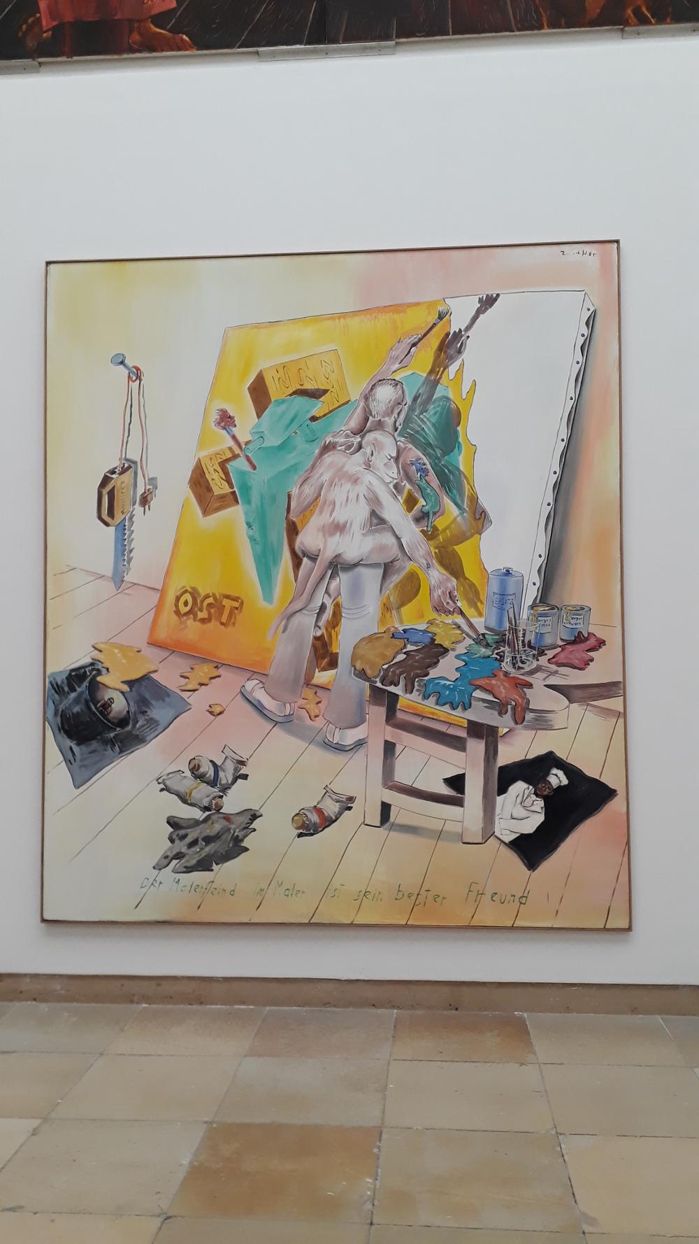 Jörg Immendorf | Der Malerfein im Maler ist sein bester Freund | 1985 | Öl auf Leinwand | Foto: Sven Biller