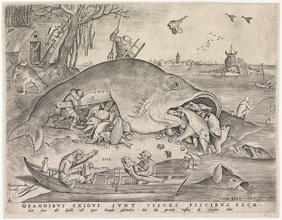 Pieter van der Heyden nach Pieter Bruegel d. Ä. | Die grosen Fische fressen die kleinen, 1557 |  Amsterdam, Rijksmuseum |  Rijksprentenkabinet