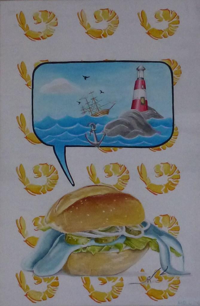 """Fischbrötchens Revenge"" | Acryl auf Leinwand | 40 x 60 | 2018"