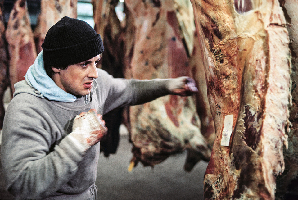 "Rocky (1976) Rocky (Sylvester Stallone) pounds the beef as part of his training regime. Stallone: ""The beefs were used simply as a metaphor for the fighter's point of view while training. In other words, his opponents become nameless meat — indifferent, meaningless,dangerous meat."""