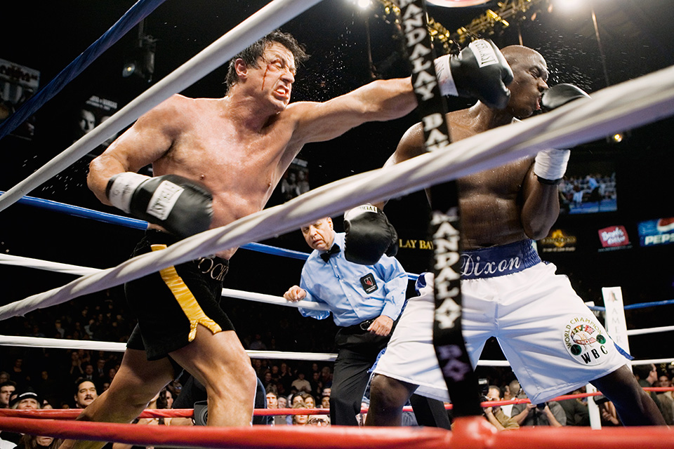 "Rocky Balboa (2006) Rocky (Sylvester Stallone) pushes Mason Dixon (Antonio Tarver) to the limit. Commentator: ""This fight is as though Dixon got on-the-job training in courage."""