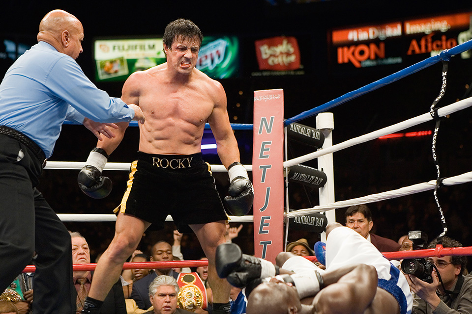 "Rocky Balboa (2006) The impossible happens — Rocky (Sylvester Stallone) gets the puncher's chance and Mason Dixon (Antonio Tarver) hits the canvas. Commentator: ""Welcome to Rockyland."""