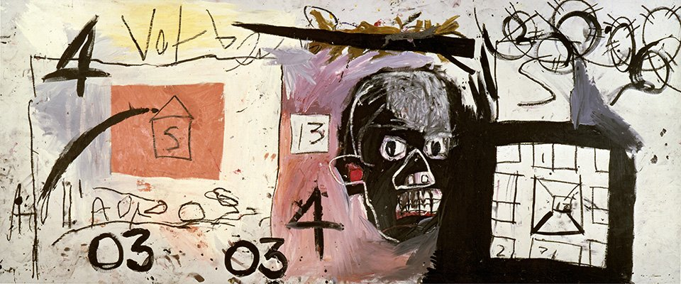 Untitled, 1981 | Acrylic and oilstick on canvas, 127 x 302 cm | pp. 76/77 | Copyright: © The Estate of Jean-Michel Basquiat. Licensed by Artestar, New York