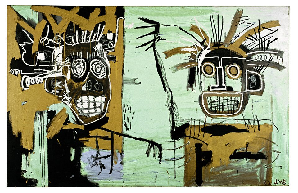 Untitled (Two on Gold), 1982 | Acrylic and oilstick on canvas, 203 x 317.5 cm | Photo: Courtesy Galerie Enrico Navarra, Paris | pp. 168/169 | Copyright: © The Estate of Jean-Michel Basquiat. Licensed by Artestar, New York
