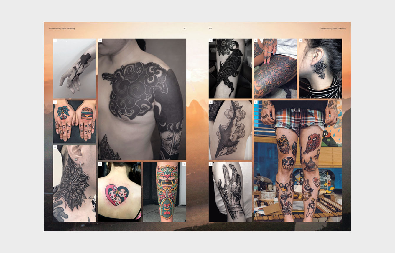 Seite: 102 und 103 | 7, 13: Aru, Tattoo | 8: Apro Lee | 9: Wan Tattooer | 10; 14: Mico Tattoo | 12: K. Lee | 16: Ildo | 17: Woohyun Heo | 18: G. Ghost © Laurence King Publishing