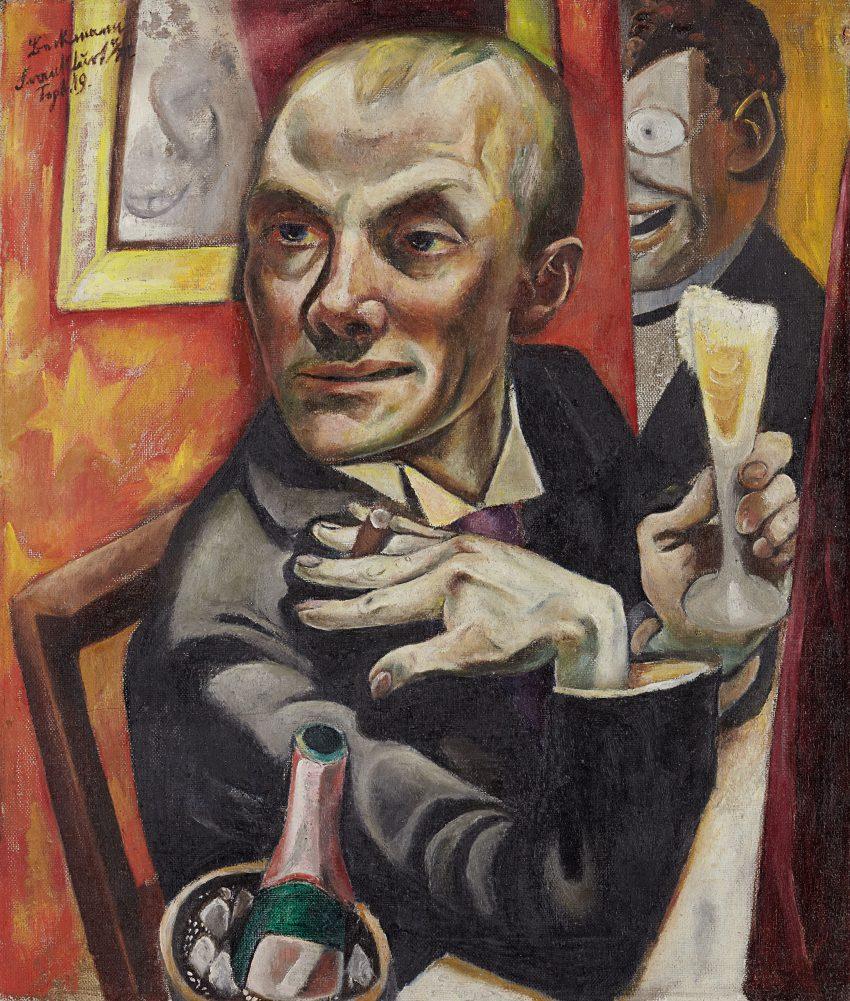 Max Beckmann (1884–1950) Selbstbildnis mit Sektglas, 1919 Öl auf Leinwand, 65,2 x 55,2 x 2,3 cm (ohne Rahmen) Gemeinsames Eigentum mit der Ernst von Siemens Kunststiftung, der Bundesrepublik Deutschland und dem Städelschen Museums-Verein Foto: Städel Museum